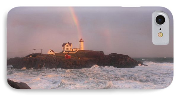 Nubble Lighthouse Rainbow And Surf At Sunset IPhone Case by John Burk