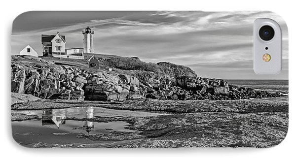 Nubble Lighthouse Reflections Bw IPhone Case by Susan Candelario