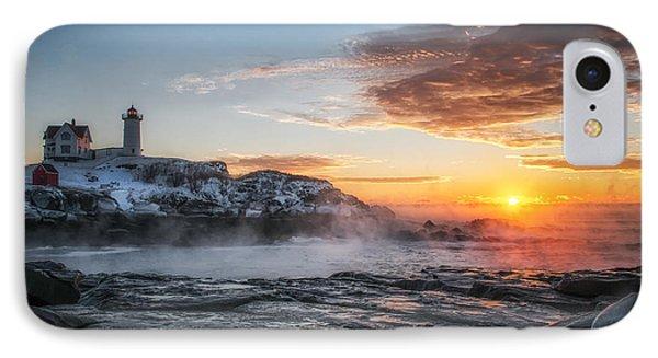 Nubble Lighthouse Sea Smoke Sunrise IPhone Case by Scott Thorp
