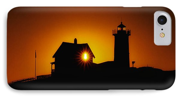 Nubble Lighthouse Sunrise Starburst Phone Case by Scott Thorp