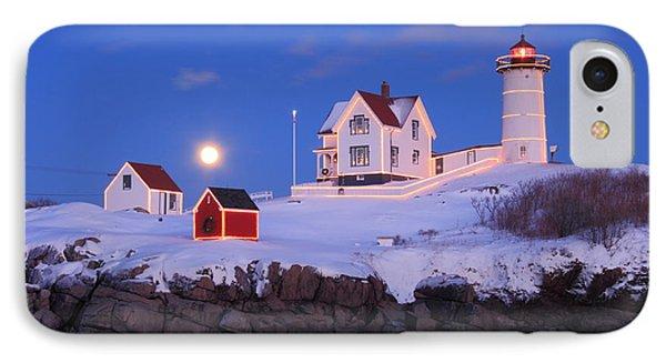 Nubble Lighthouse Winter Moon IPhone Case