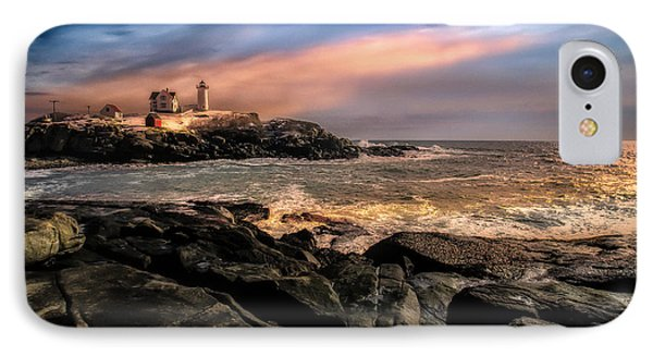 Nubble Lighthouse Winter Solstice Sunset Phone Case by Bob Orsillo