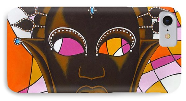 Nubian Modern Mask With Pink IPhone Case by Joseph Sonday