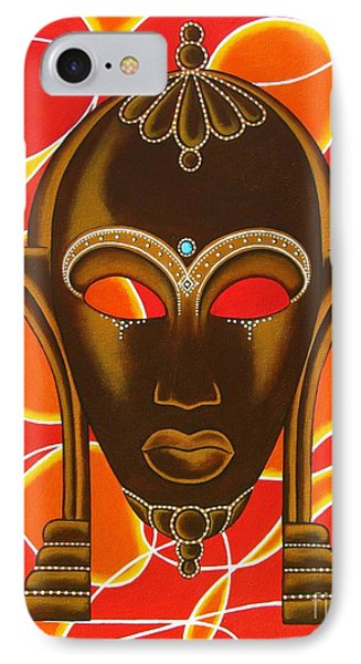Nubian Modern Mask With Red And Orange IPhone Case by Joseph Sonday