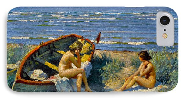 Nude Bathers With A Boat IPhone Case by Paul Gustav Fischer