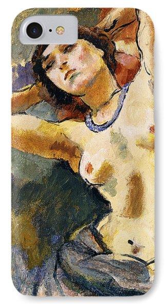 Nude Brunette With Blue Necklace Nu La Brune Au Collier Bleu IPhone Case