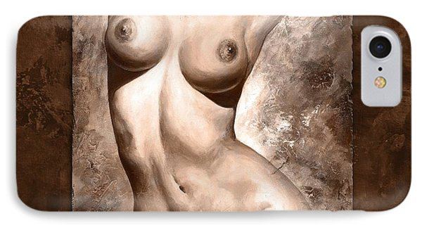 Nude Details - Digital Color Version Frame Brown IPhone Case by Emerico Imre Toth