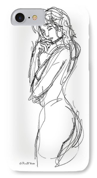 Nude Female Sketches 1 IPhone Case by Gordon Punt