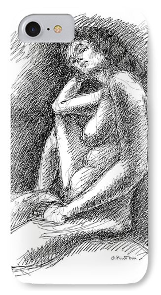IPhone Case featuring the drawing Nude Female Sketches 3 by Gordon Punt