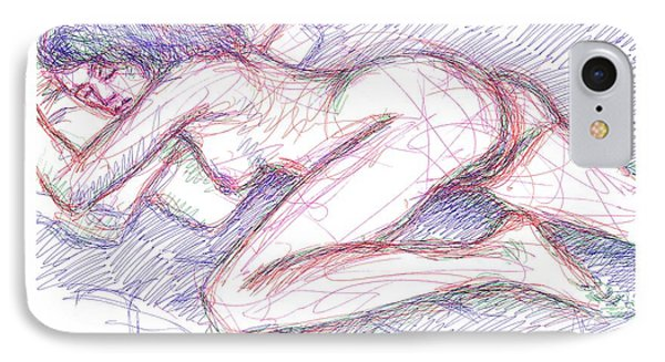 IPhone Case featuring the drawing Nude Female Sketches 5 by Gordon Punt