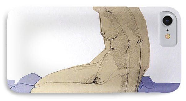 IPhone Case featuring the drawing Nude Figure In Blue by Greta Corens