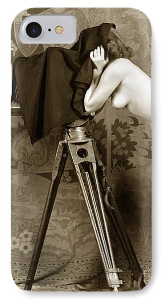 Nude In High Heel Shoes With Studio Camera Circa 1920 IPhone Case by California Views Mr Pat Hathaway Archives