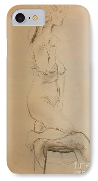 IPhone Case featuring the drawing Nude Kneels On Stool by Gabrielle Schertz