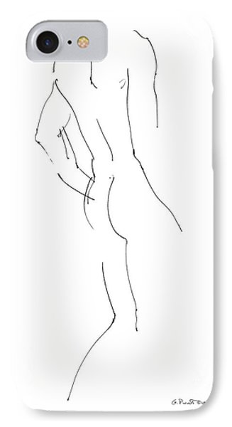 Nudes iPhone 7 Case - Nude Male Drawings 2 by Gordon Punt