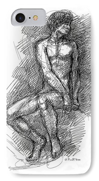 IPhone Case featuring the drawing Nude Male Sketches 1 by Gordon Punt