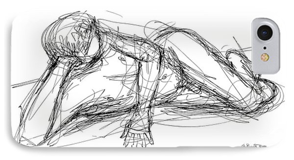 IPhone Case featuring the drawing Nude Male Sketches 5 by Gordon Punt