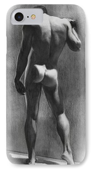 Nude Man In Contemplation Drawing Phone Case by Karon Melillo DeVega