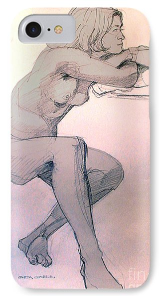 IPhone Case featuring the drawing Nude Of A Dreamy Young Woman by Greta Corens