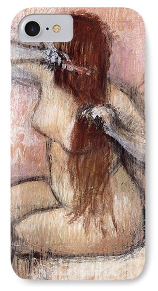 Nude Seated Woman Arranging Her Hair Femme Nu Assise Se Coiffant IPhone Case by Edgar Degas
