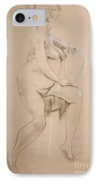 IPhone Case featuring the drawing Nude Sits On White Chair by Gabrielle Schertz