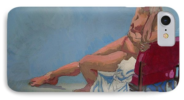 Nude Sitting In Red Chair IPhone Case by Mike Jory