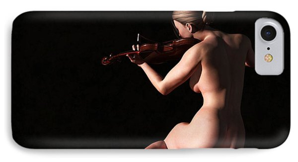 IPhone Case featuring the digital art Nude Violin Player by Kaylee Mason