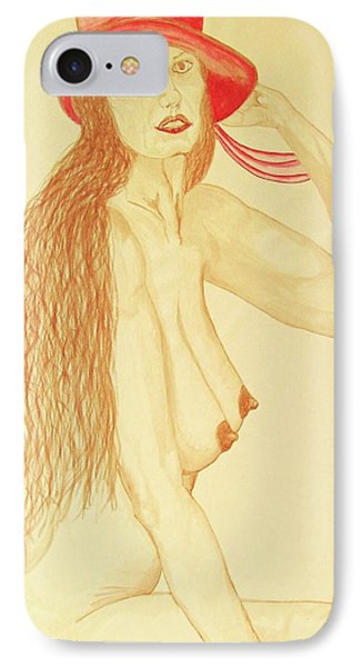 Nude With Red Hat IPhone Case by Rand Swift