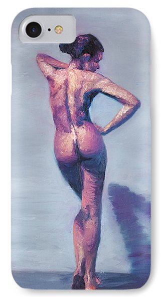 Nude Woman In Finger Strokes IPhone Case by Shelley Irish