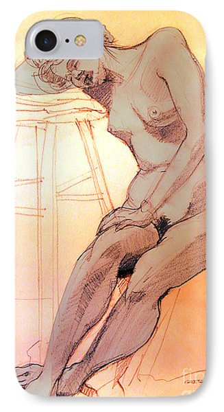 IPhone Case featuring the drawing Nude Woman Leaning On A Barstool by Greta Corens
