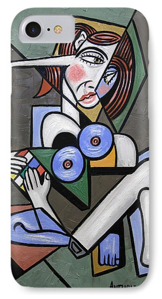 Nude Woman With Rubiks Cube IPhone Case by Anthony Falbo
