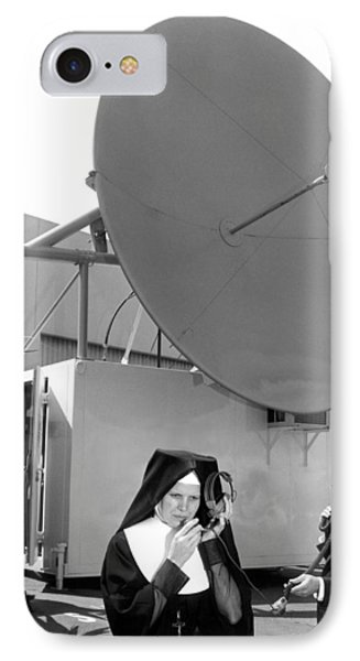 Nun Listens To Satellite IPhone Case by Underwood Archives