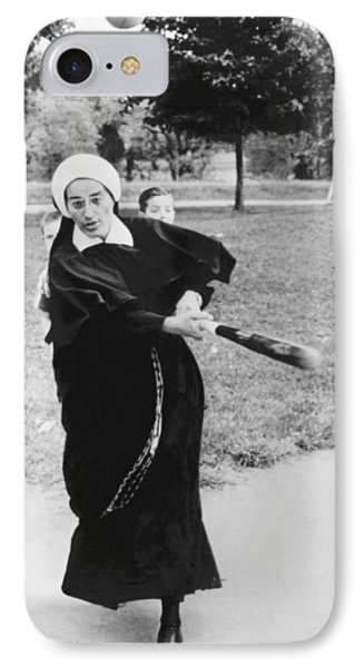 Nun Swinging A Baseball Bat IPhone Case by Underwood Archives