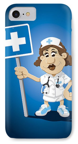 Nurse Cartoon Woman Hospital Sign IPhone Case