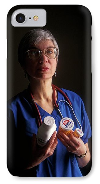 Nurse With Anti-hiv Medications IPhone Case by Jim West