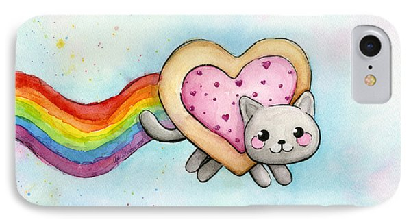 Nyan Cat Valentine Heart IPhone Case by Olga Shvartsur