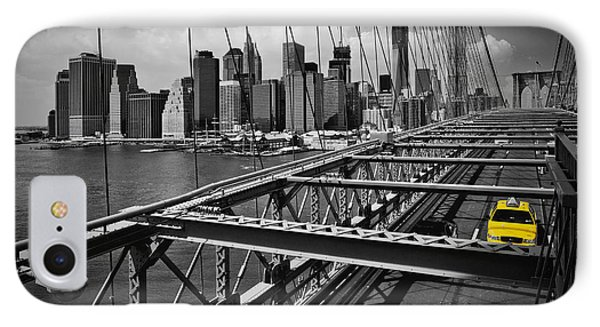 Nyc Brooklyn Bridge View IPhone Case by Melanie Viola