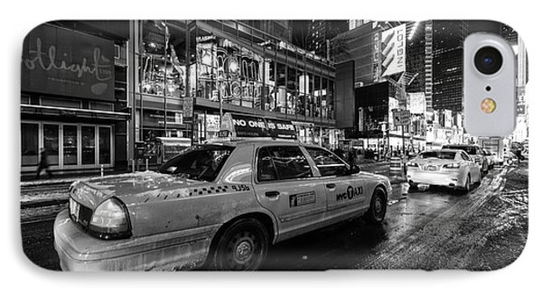 Nyc Cab Times Square IPhone Case by John Farnan