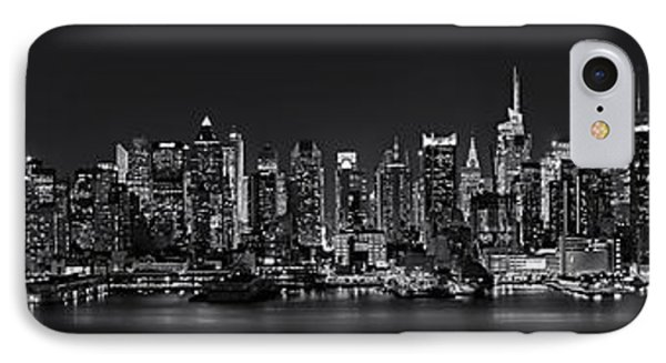 Nyc Skyline Full Moon Panorama Bw IPhone Case by Susan Candelario