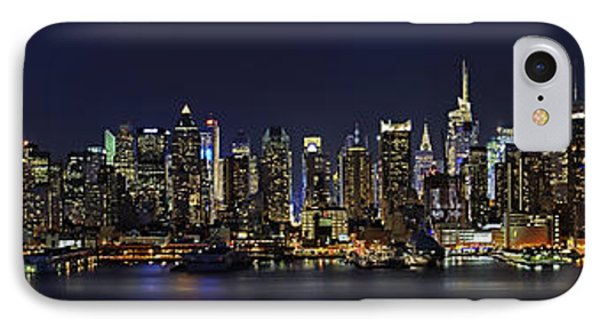 Nyc Skyline Full Moon Panorama IPhone Case by Susan Candelario