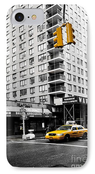 Nyc  Yellow Cab At The Crossroad Phone Case by Hannes Cmarits
