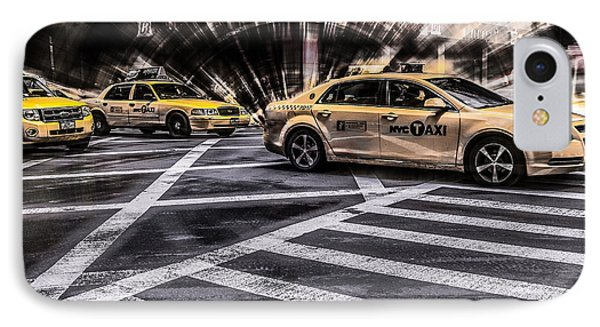 Nyc Yellow Cab On 5th Street - White IPhone Case by Hannes Cmarits