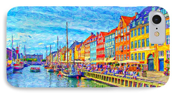Nyhavn In Denmark Painting IPhone Case by Antony McAulay
