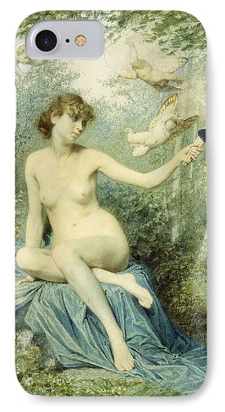 Nymph Driving Love Away With A Torch IPhone Case by Victor Florence Pollet