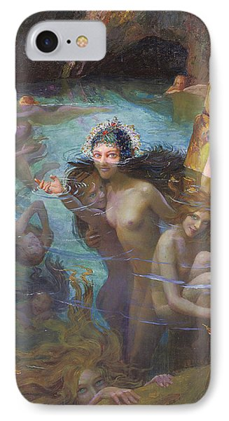 Nymphs At A Grotto IPhone Case by Gaston Bussiere