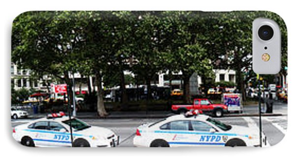 Nypd Cop Cars In Front Of Lincoln Center Phone Case by Nishanth Gopinathan