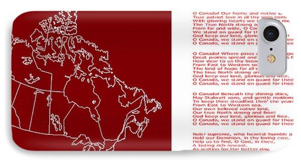 O Canada Lyrics And Map IPhone Case