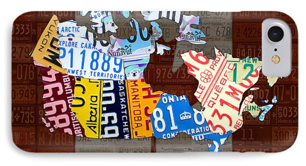 O Canada Recycled License Plate Map Of Canada National Anthem On Canadian Flag Art IPhone Case by Design Turnpike
