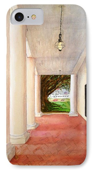 IPhone Case featuring the painting Oak Alley - Veranda View Of The Delta Queen by June Holwell
