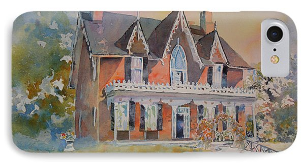 IPhone Case featuring the painting Oak Hill Cottage by Mary Haley-Rocks