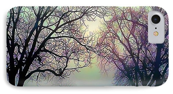 Oak Trees In The Mourning Myst IPhone Case by Wernher Krutein